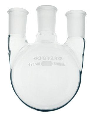 Chemglass CG-1522-07 Series CG-1522 Heavy Wall Round Bottom Flask, 3-Neck, 1-CN 24/40 Outer Joint, 2-SN 24/40 Outer Joint, 1000 mL Capacity