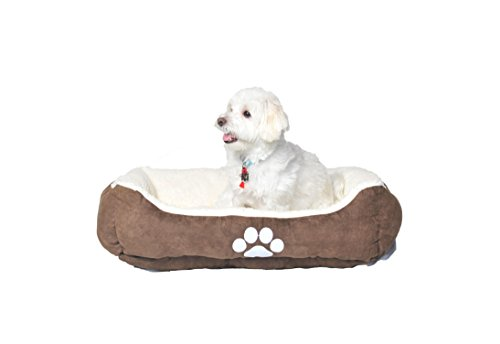 HappyCare Textiles Reversible Rectangle Sherpa Pet Bed with Dog Paw Printing 21x25 inches Medium Size