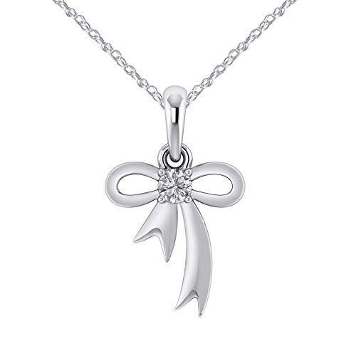 Bow With Diamond Necklace - Pretty Jewels 925 Sterling Silver W/ 0.10 Ct Natural Diamond Bow Tie Pendant Necklace 18