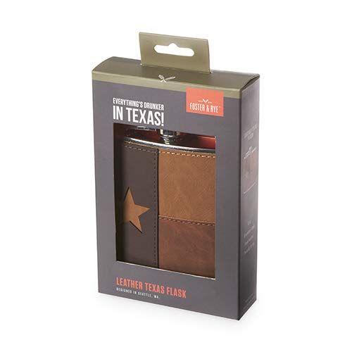 Foster & Rye 7156 Leather Texas Flask, Brown