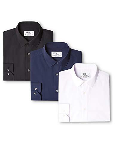 Uomo Mehrfarbig Fit Navy amp; black Camicia Da Seam White Hem Regular Pacco 3 CXOwFXq