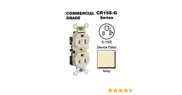 Straight Blade Self Grounding Narrow Body Duplex Receptacle Tamper Resistant Commercial Grade Leviton TBR15 15 Amp Brown 125 Volt