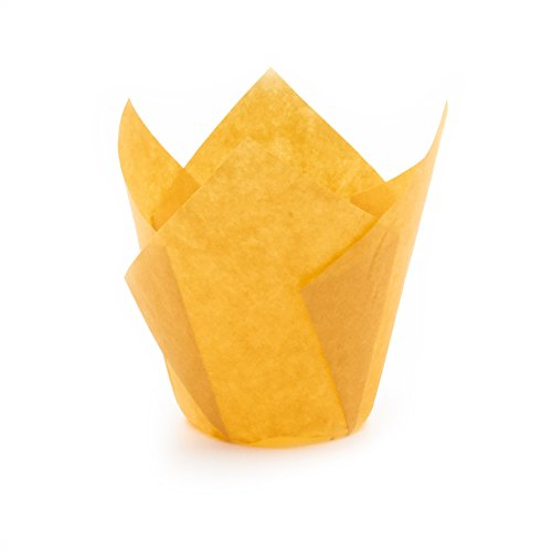 Tulip Cupcake Liner Orange Paper Baking Cups easy Release Muffin cup / No need To Spray Cup Perfect for Baking Muffins and Cupcakes, Medium Size: Tip H 3-17 / 64