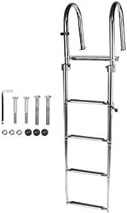 Akozon 4 Step Pontoon Boat Ladder Foldable Premium Stainless Steel Marine Yacht Ladder /Swim Deck Ladder with