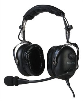 Gulf Coast Avionics GCA-6G Premium Pilot Aviation Headset w/MP3 Input Black by Gulf Coast Avionics