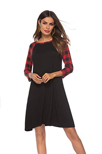 Buffalo Plaid Dress Plus Size Women 3/4 Sleeve Floral Print Shift Tunic T Shirt Dress with Pockets (Medium, 301 Black Body)