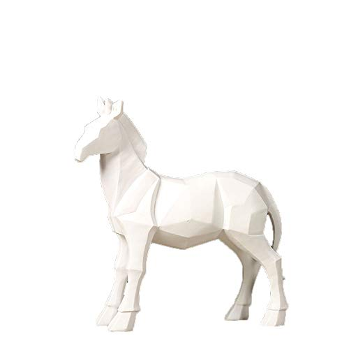 YCWY Geometric Sculpture, Minimalist Horse Sculpture Modern Hotel Decoration Statue Indoor Living Room Study Office Decoration (24238cm),White