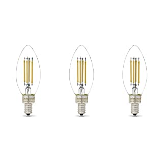 AmazonBasics 60W Equivalent, Clear, Daylight, Dimmable, CEC Compliant, B11 (E12 Candelabra Base) LED Light Bulb | 3-Pack