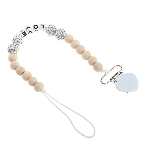 Padory Bling Pacifier Chain For Nipples Chupetas Para Bebe Pacifier Clips Chain Soother Holder Chain For baby (White) Bling Handle Pacifier