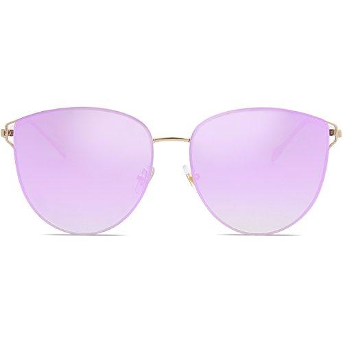 Protection Soleil de Miroités SJ1085 Gradient de Lentille Violet Cadre Chat UV Lunettes C4 Œil SOJOS Or 48HqRUFwU
