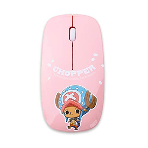 RETO-Onepiece Character Wireless Portable Mobile Mouse Optical Mice with USB Receiver for Notebook, PC, Laptop, Computer - Slim Type(Red,Blue,Pink) (Pink) ()