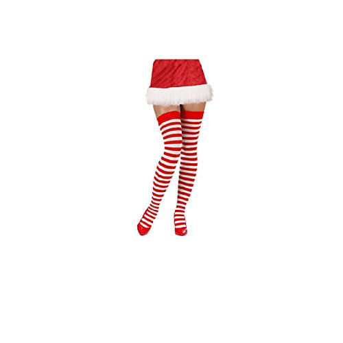 8209435363653 Women Sexy Red and White Strip Valentine's Day Candy Cane Christmas Holiday Thigh  High Lingerie Stockings - Buy Online in UAE. | risque thigh highs Products  ...