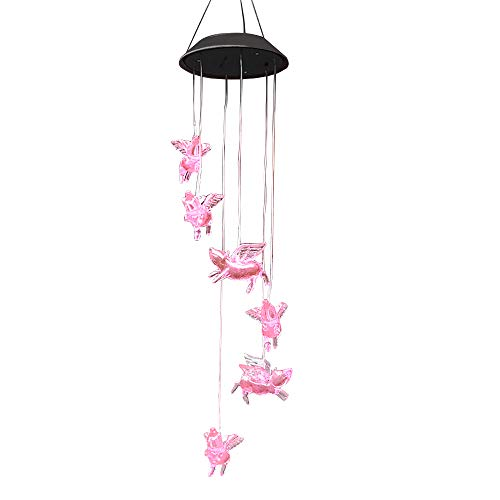AceList Color-Changing Pigs Fly Solar Mobile Wind Chime Moblie LED Light, Spiral Spinner Windchime Portable Outdoor Chime Patio Deck Yard Garden ()