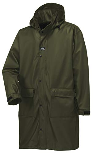 Helly Hansen Workwear Impertech Guide Long Fishing and Rain Coat, Green Brown, S