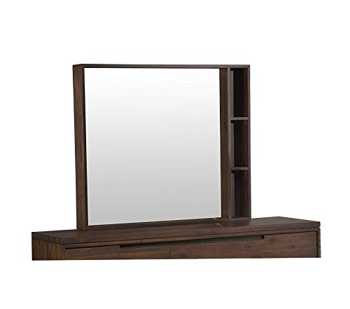 (Furniture Portland Solid Wood Mirror Walnut Premium Office Home Durable Strong)