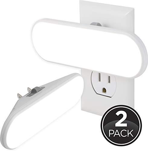 GE Ultrabrite LED Light Bar 100 Lumens, 2 Pack, Plug-in, Dusk-to-Dawn Sensor, Auto/On/Off Switch, Home Décor, for Elderly, Ideal for Bedroom, Bathroom, Nursery, Kitchen, Hallway, White, 46707,