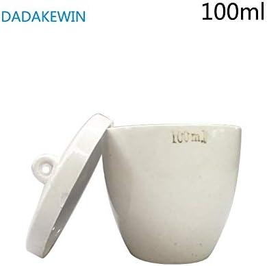DADAKEWIN 100ml Porzellantiegel Mit Deckel, Hohe Form, Weiß, Hohe Temperaturbeständigkeit Der Laborchemie Equipment- Packung Mit 5 (Color : White, Size : 100ml)