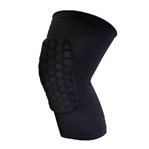 ArMordy(TM) Practical Kids Adult Elastic Stretchy Leg Knee Pad Sports Safety Knee Protector Gear Basketball Crashproof Knee Support[ Black L ]