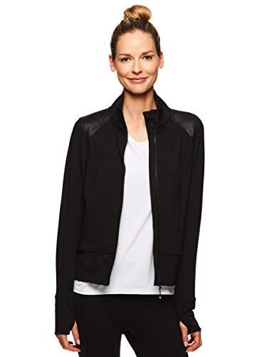 (Gaiam Women's Full Zip Up Crop Jacket - Hooded Activewear Workout & Yoga Sweater - Hayden Shine Black, X-Large)