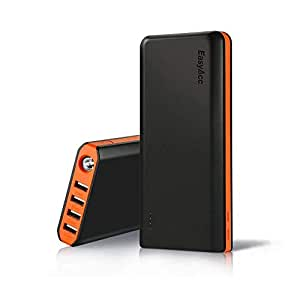 EasyAcc 20000mAh Portable Charger Fast Recharge Power Bank with 4A 2-Port Input 4.8A Smart Output High Capacity External Battery Pack for iPhone iPad Android - Black and Orange