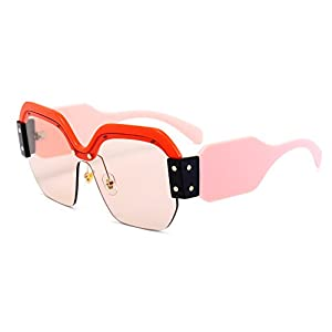 FEISEDY Candy Women Fashion Semi Rimless Oversized Sunglasses Acetate Frame B2278