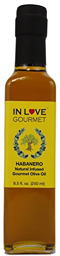 In Love Gourmet Habanero Natural Flavor Infused Olive Oil 250ML/8.5oz Spicy Habanero Oil, Spice up your Fish, Chicken, Veggies, & Pastas.