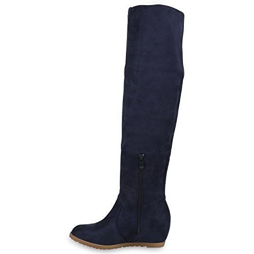 Stiefelparadies Gefütterte Damen Stiefel Overknees Strass Keilabsatz Schuhe Wildleder-Optik Wedges Boots Flandell Dunkelblau