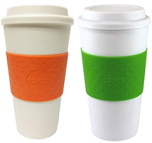 (Copco Acadia Double Wall Insulated 16 oz Travel To Go Mug with Non-Slip Sleeve, Set of 2, Commuter Friendly, Drink On the Go (Orange/Kiwi))
