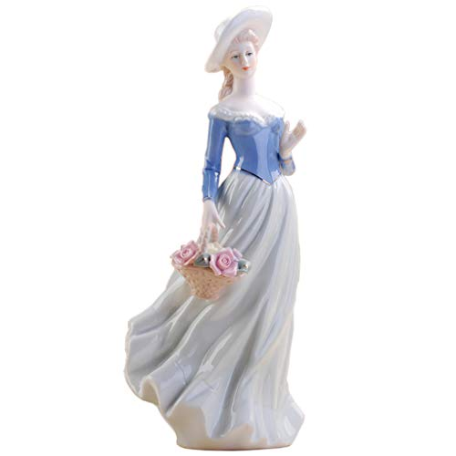 Amperer Ceramic Girl Statue Porcelain Lady Figurine Home Accessories Modern Style Art Sculpture (1# Hold Basket)