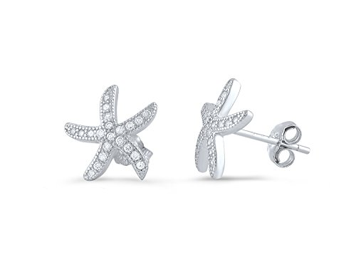 Sterling Silver Cz Starfish Stud Earrings - 11mm