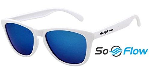 SoFlow 2018 Blue Polarized Sunglasses for Men and Women - Cool Wayfarer Sunglasses - Vintage Beach Classic - Dark Blue Lens - Lightweight White - Blue Dark Glasses Frames