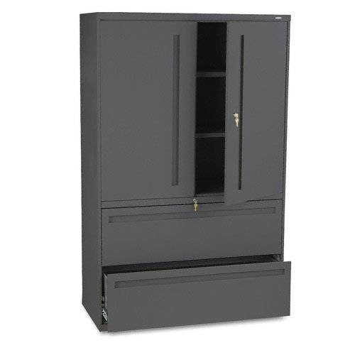 700 Series Lateral File - HON Products - HON - Brigade 700 Series Lateral File With Storage Cabinet, 42 x 19-1/4 x 67, Charcoal - Sold As 1 Each - Hinged doors conceal 36 1/4amp;quot; storage space with two adjustable shelves. - Bottom shelves hold two rows of three-ring binders. - Keyed alike locks secure doors and lateral file drawers independently. - Two lateral file drawers with steel bearing suspension for letter/legal size filing. - Three-part telescoping slide suspension.