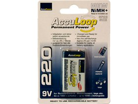 10 X 9 Volt 220 Mah Acculoop Low Discharge Nimh Rechargeable Batteries