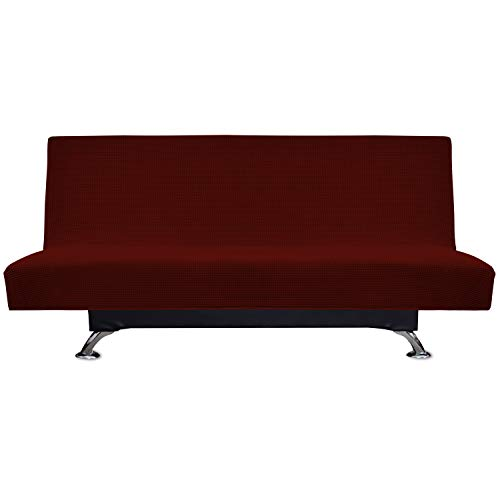 Easy-Going Stretch Spandex Armless Sofa Slipcover,Futon Sofa Cover,Sofa Bed Cover,Without Armrests Slipcover, Pet Sofa Cover, Sofa Cover for Dogs,Cats,Pets,Kids,Children(Futon,Wine)