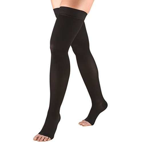 Truform 0868, Compression Stockings, Thigh High, Stay-Up Top, Open Toe, 20-30 mmHg, Black, Medium