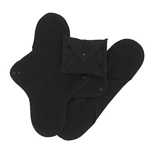 Imse Vimse Reusable Organic Cotton Menstrual Pads with Wings, 3 Pack (Night, - Menstrual Cloth Pads Organic Cotton