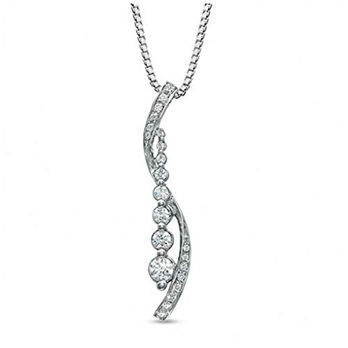 1/5 CT. T.W. Journey Round Diamond Two Ribbon Pendant Necklace in 10K Solid White Gold