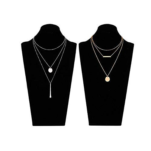 LIAO Jewelry 2 Pcs Bohemia Layered Necklace Set Multilayer Choker Necklaces Simple Coin Bar Pendant Station Chain Necklace for Women (Gold + Silver)