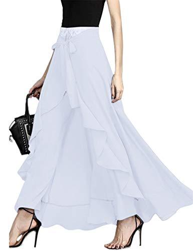 SEBOWEL Women's Ruffle Pants Full Length Split High Waist Retro Maxi Chiffon Long Skirt White M