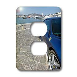 3dRose LLC lsp_107559_6 Blue Ferrari 430 Monza Parked in The Port of Ibiza, Spain 2 Plug Outlet Cover by 3dRose