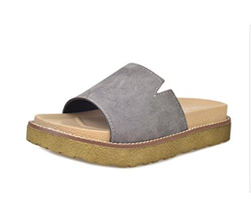 4cm Alla di pantofole rilasciare Sandali AJUNR e 40 selvaggio Da Donna Moda di grigio 38 Pan di scarpe elegante spagna spessore trascinare g8gzqxw4t