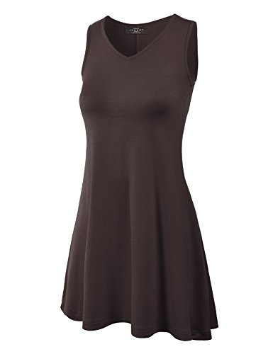- WT827 Womens Sleeveless V Neck Dress Top S Brown