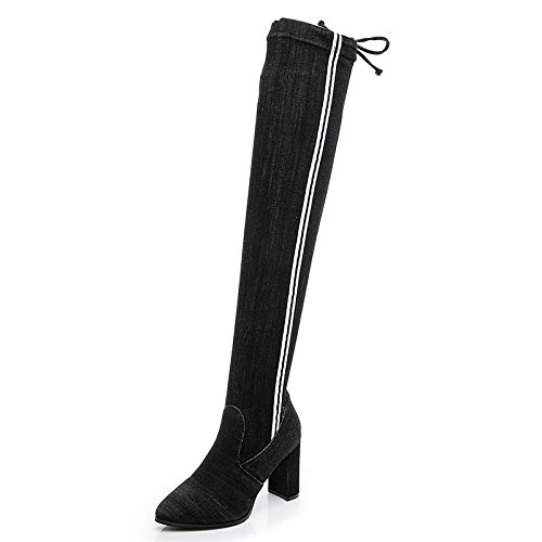 Black strips Cowboy Stretch high Boots high Heel Over The Knee Thick Pointed Martin Boots Female Autumn Winter