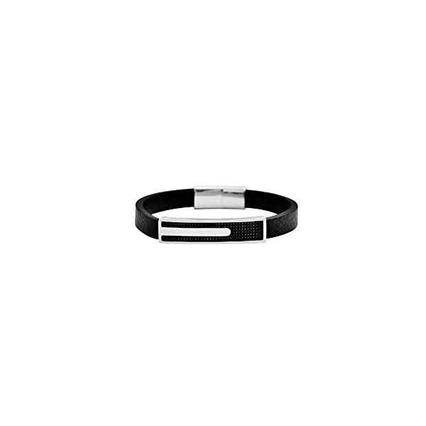 Geoffrey Beene Men's Genuine Leather and Stainless Steel Bracelet with Carbon Fiber ID