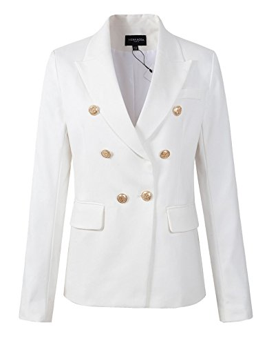 Womens Double Breasted Military Style Blazer Ladies Coat Jacket (US18, - Breasted Double Coat Military