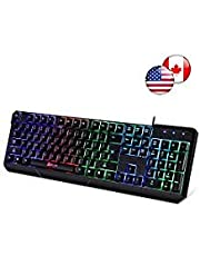 ⭐️Klim Chroma Backlit Gaming Keyboard - Wired USB - Led Rainbow Lighting - Ergonomic, Quiet, Water Resistant - Black RGB PC Windows PS4 Mac Keyboards - Teclado Gamer Silent Keys with Light Color