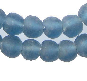 African Recycled Glass Beads - Full Strand Eco-Friendly Fair Trade Sea Glass Beads from Ghana Handmade Ethnic Round Spherical Tribal Boho Krobo Spacer Beads - The Bead Chest (14mm, Light Blue)