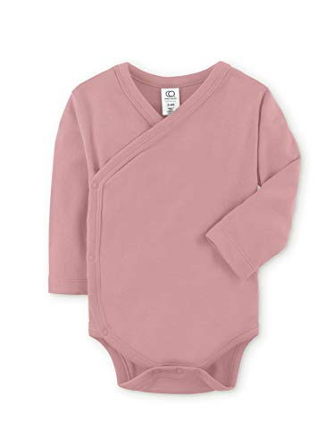 Colored Organics Baby Organic Cotton Kimono Bodysuit - Long Sleeve Infant Side Snap Onesie - Newborn 0-3 Months - Dusty Rose