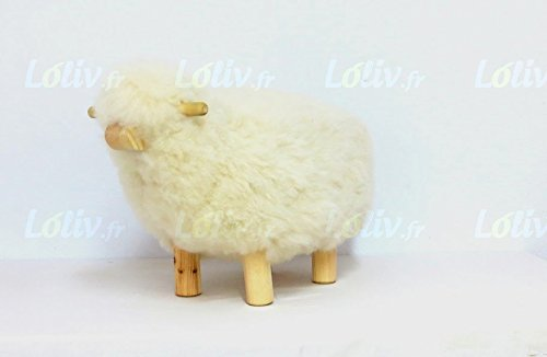 loliv Sheepskin Stool Stool Sculptur Ottoman Foot Stool Artisan Crafted pouffe footrest Hassock Design Children Stool Natural Fleece and Wood Bed Side Table Free Express delivery 13x16inch (Footrest Pouffe)