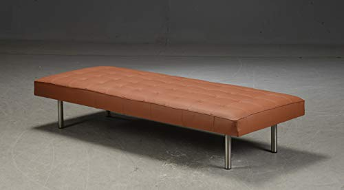 Upholstery Leather Daybed with Steel Legs Tan color By Second May